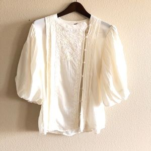 Free People || Ivory Button Blouse